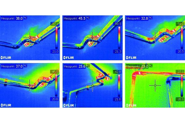BILD 5: Durchwärmung von stagnierenden Warmwasser-Abzweigen im Infrarot sichtbar gemacht. Die abzweigende PWH-Stichleitung – hier zu einem nicht genutzten Ausgussbecken – stagniert über längere Zeit in einem sehr ungünstigen Temperaturbereich.