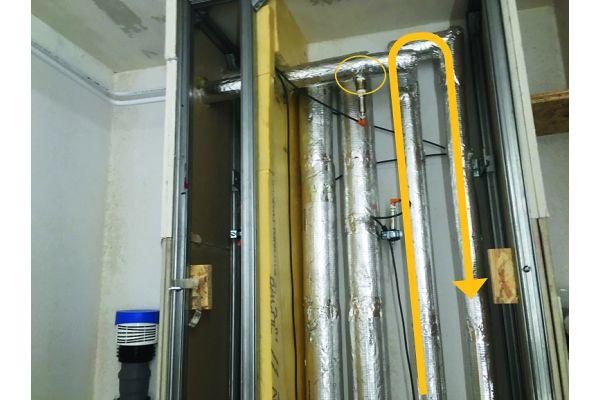 """BILD 6: Labormessungen an einem typischen Installationsschacht mit Warmwasserzirkulation. Auch eine über 80 mm PUR-Dämmstoff thermisch """"entkoppelte"""" und zu 100 % gedämmte PWC-Steigleitung erreicht bereits nach 6 Stunden 25°C. Noch bedenklicher: Die abzweigende PWH-Leitung bleibt in Stagnationsphasen dauerhaft bei etwa 40°C bis 44°C."""