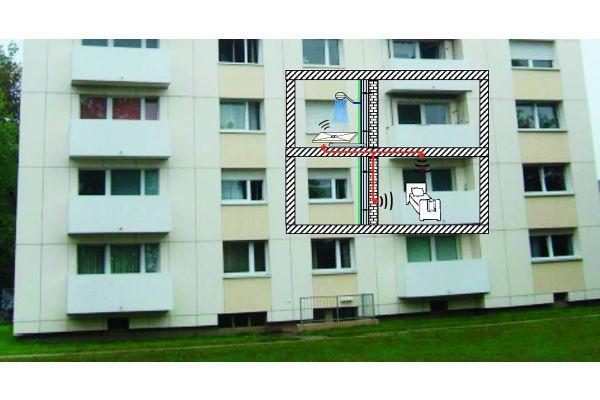 Wie in der Realität: Analog dem Geschoss-Wohnungsbau ist auch der Versuchsaufbau am Fraunhofer Institut für Bauphysik angeordnet