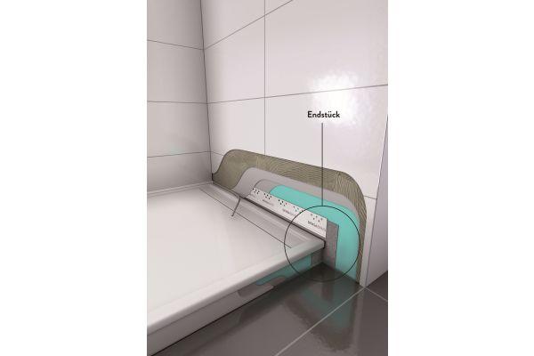 """Das Wannendichtband """"Densaband"""" mit den neuen Endstücken: zusätzlich 5 cm dicht für den perfekten Übergang vom Ende der Wanne zur Wand beziehungsweise zum Boden."""