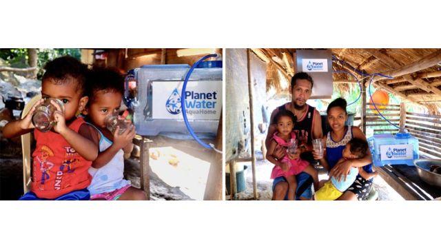 Eine der drei Familien im ländlichen Kambodscha, die durch das AquaHome-System jetzt Zugang zu sauberem Trinkwasser und kostenlosem Strom hat.