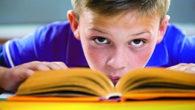 Ein Grundschüler mit einem geöffneten Buch auf dem Tisch.