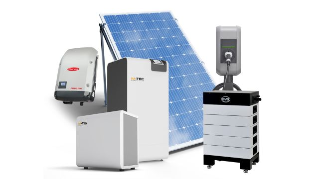 Abbildung: M-TEC bietet vorkonfigurierte Energielösungen für Sektorenkopplung an - unter anderem aus Wärmepumpen, PV-Anlagen, Stromspeichern und Ladetechnik für E-Mobilität.