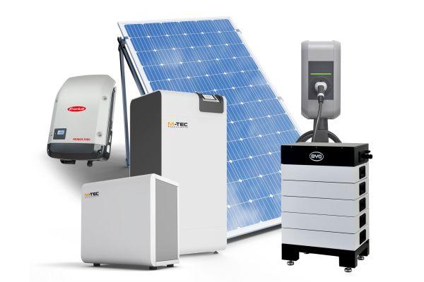 M-TEC bietet vorkonfigurierte Energielösungen für die Sektorenkopplung an, bestehend unter anderem aus Wärmepumpen, PV-Anlagen, Stromspeichern und Ladetechnik für die E-Mobilität.