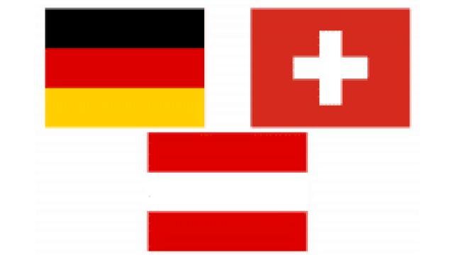 Das Bild zeigt die drei Flaggen von Deutschland, Österreich und der Schweiz.