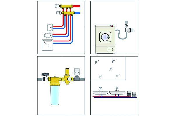 """Bild 4: Neben der Standardversion gibt es spezielle Versionen der Wasserschlagdämpfer für Spülen und Waschbecken (3/8"""" IG Überwurfmutter x 3/8"""" AG) und Waschmaschinen (3/4"""" IG Überwurfmutter x 3/4"""" AG)."""