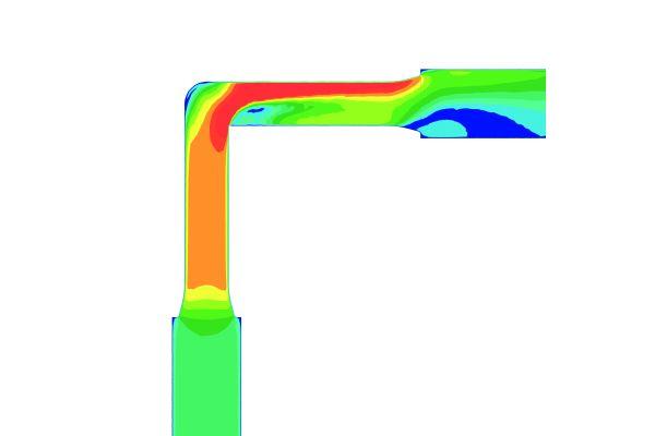 Im Systemvergleich: Der Druckverlust eines Bogens aus Kunststoff kann fast zehnmal so groß sein wie bei einem metallenen Bogen mit freiem Querschnitt…