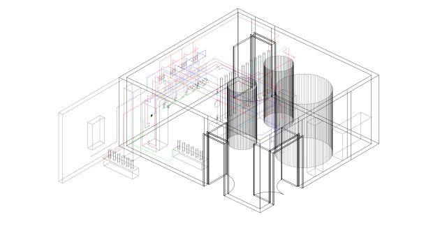Grafik: 3D-Schema der neuen Warmwasserzentrale - Die zwei kleineren Speicher sind Niedertemperatur-Puffer, der große dient den vier Durchlauferhitzern als Wärmelieferant.
