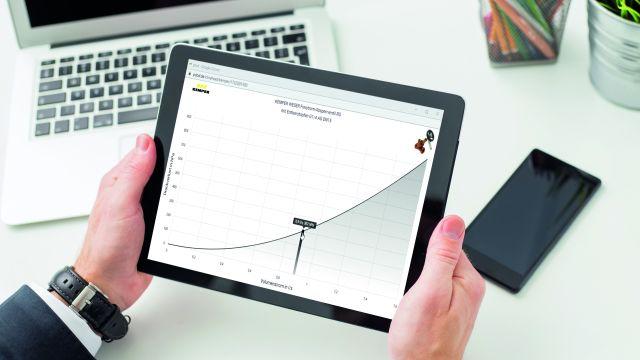 Das Bild zeigt den Display eines Tablets.
