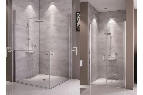Pfiffige Lösung: Die Pflegedusche mit teilbarer Tür kann zum Beispiel in Nischen oder als Eckeinstieg eingesetzt werden.