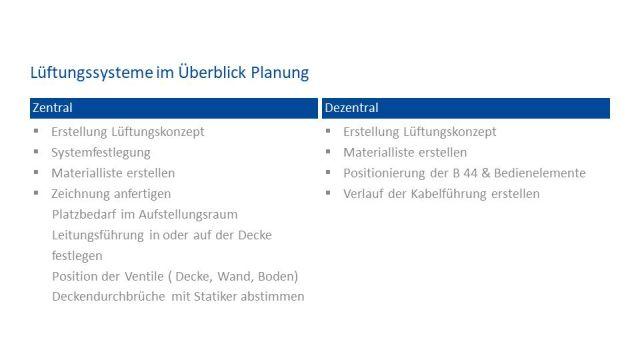 Tabelle, im Vergleich: Wesentliche Unterschiede bei der  Planung eines zentralen und dezentralen Lüftungssystems