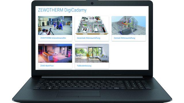 Webseite der Video-Lernplattform von Zewotherm auf dem Desktop eines Laptops.