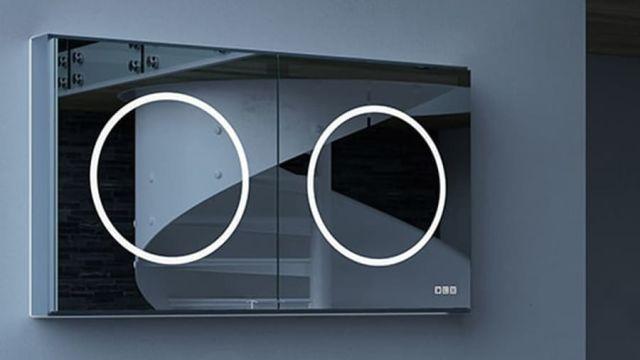 """Das Bild zeigt den LED-Aluminium-Spiegelschränke der Serie """"ORI""""."""
