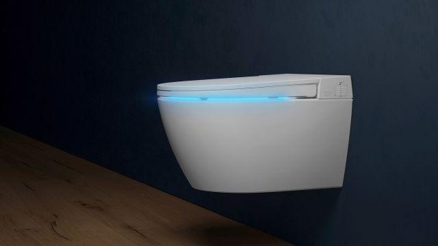 Das Bild zeigt das neue Dusch-WC mit Nachtlicht.