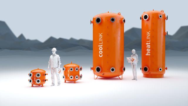 Das Bild zeigt hydraulische Systemlösungen für Heiz- und Kühlzwecke