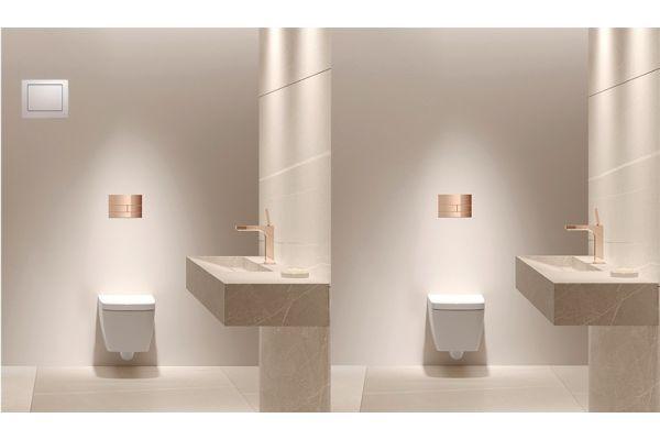 Links: Herkömmliche Lösung einer Hygienespülstation mit separater Revisionsklappe; Rechts: Vollständig in den Spülkasten integrierte Hygienespülung von TECE.