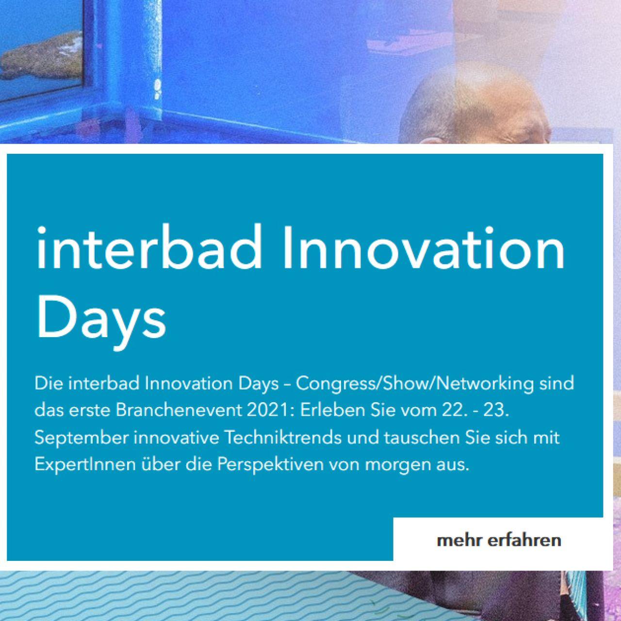 interbad findet 2021 als Innovation Days statt