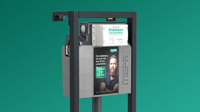 """Das Bild zeigt einen im """"nextVIT""""-WC-Element vormontierten UP-Spülkasten """"A31/B31"""" mit klickbarem Bauschutzkasten."""