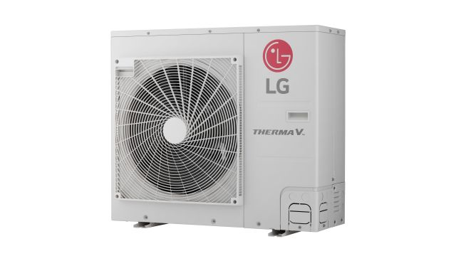 Foto: Außeneinheit der Luft/Wasser-Wärmepumpe Therma V Split IWT von LG Electronics.