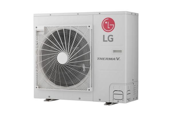 Die Außeneinheit der Luft/Wasser-Wärmepumpe Therma V Split IWT von LG Electronics.