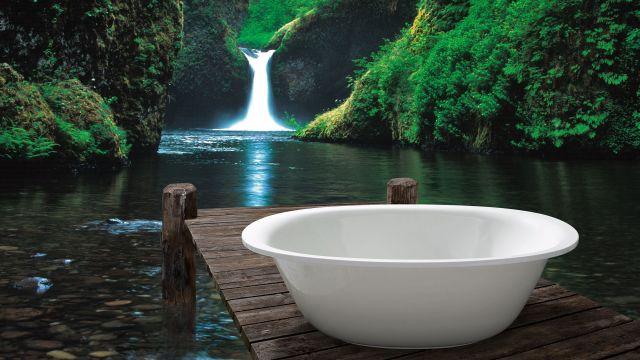 Das Bild zeigt eine Badewanne im Grünen.