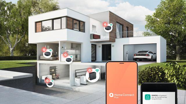 Das Bild zeigt eine Haus-Grafik mit Smart-Home-Systemen.