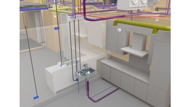 Abbildung: Entwurf der SHKL- und Elektroinstallationen mit hochwertiger Softwarelösung, die eigens für die Planung von Gebäudetechnik entwickelt wurde.
