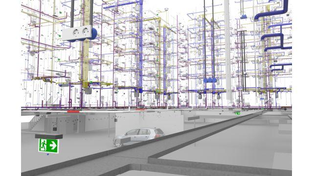 Abbildung: BIM bietet verschiedenste Möglichkeiten zur Visualisierung in 3D (hier: raum- und geschossübergreifende Darstellung von SHKL- und Elektroinstallationen).