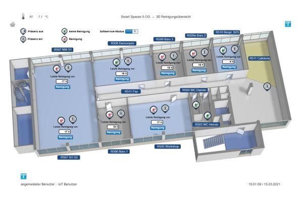 Mit der Hard- und Software von Sauter kann in der speziell dafür ausgestatteten Etage beispielsweise eine bedarfsabhängige Reinigung realisiert werden.