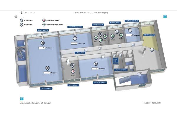 Der Gebäudeautomationsexperte stellt auch eine App zur Verfügung, die dem Nutzer in einer Etagenübersicht auf dem Smartphone freie Arbeitsplätze anzeigt.