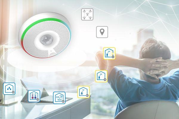 """Der Smart Mesh Multisensor """"viaSens116"""" misst Temperatur, Feuchte, Luftqualität (VOC), Präsenz, Lichtintensität und Geräuschpegel, kommuniziert mit Bluetooth Low Energy in einem Mesh-Netzwerk und integriert sich als IoT-Device mit 4 MQTT in das Gebäudeautomationssystem."""