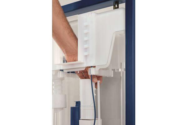 Die Spülstromdrossel kann selbst nach erfolgtem Einbau und Fertigstellung des Badezimmers ohne Ausbau des Ablaufventils nachjustiert werden.
