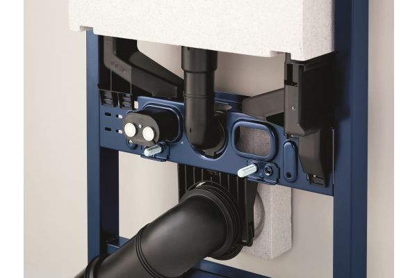 """Mit """"Rapid SLX"""" garantiert Grohe Flexibilität weit über den ursprünglichen Einbau hinaus. Der universelle Wasseranschluss und die integrierte Elektroanschlussbuchse sind über eine Öffnung hinter der Keramik zu erreichen und machen umfangreiche bauliche Eingriffe überflüssig."""