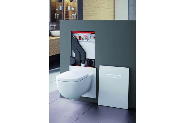 """Mit dem WC-Terminal """"TECElux"""" kann die Sitzhöhe ohne großen baulichen Aufwand einfach nachjustiert werden. Die nötige Stellschraube befindet sich hinter der Platte aus Sicherheitsglas."""