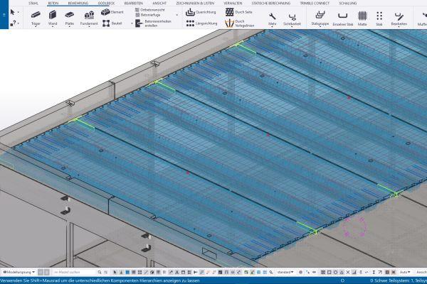 """""""Tekla Structures"""" hilft regelbasierte Konstruktionsaufgaben stärker zu automatisieren – beispielsweise können notwendige Einbauteile und Bewehrung, Bauteilzeichnungen sowie Maschinendaten automatisiert aus den 3D-Gebäudemodellen abgeleitet werden."""