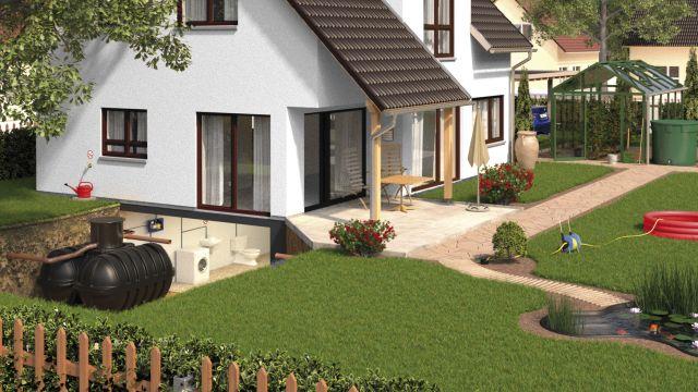 Haus mit einer Regenwassernutzungsanlage.