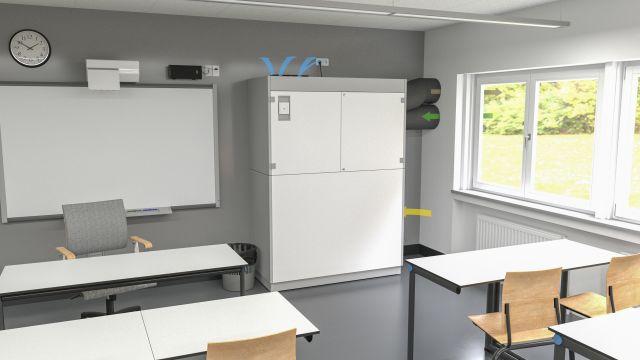 Dezentrales Lüftungsgerät im Klassenzimmer