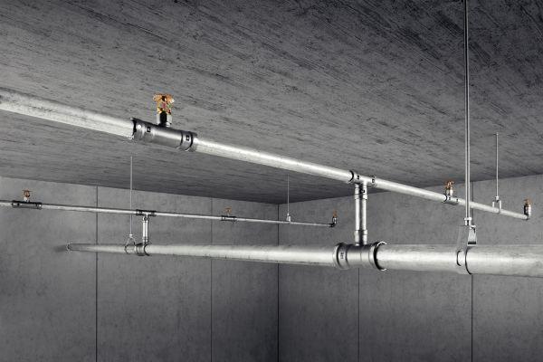 """Vom VdS zertifiziert ist das Rohrleitungssystem """"Megapress S"""" auch für den Einsatz in Sprinkleranlagen zugelassen; hier in Kombination mit verzinktem Stahlrohr."""