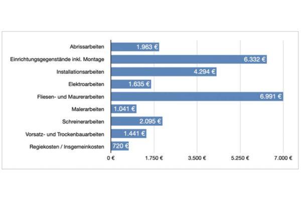 Die geschätzten Umbaukosten für ein pflegegerechtes Schlauchbad