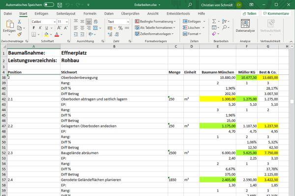 Baumanagementlösungen: durchgängige AVA-Software