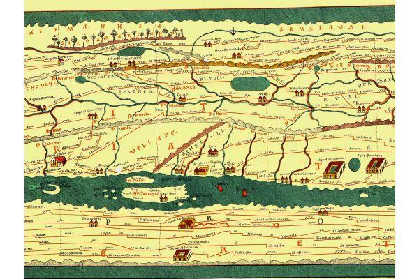 Historische Zeichnung: Auf der Esslinger Gemarkung, datiert um 85 / 90 n. Chr. belegt bis Mitte drittes Jahrhundert – Grinario als Grinarione auf der Tabula Peutingeriana (Pfeil Mitte oben).