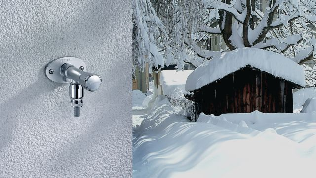 Das Bild zeigt eine Außenwandarmatur in einer Winterlandschaft.