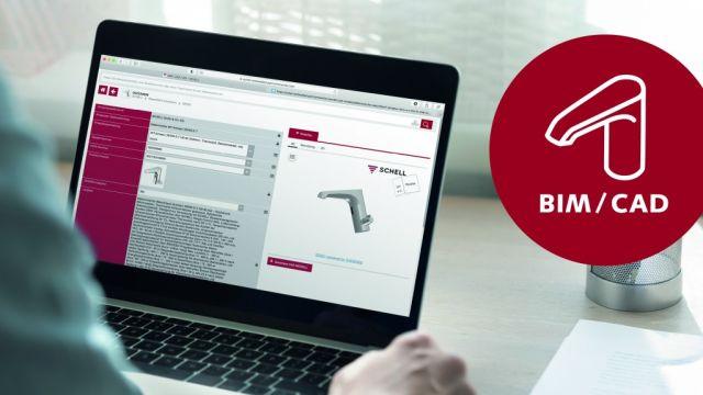 Das Bild zeigt das Schell BIM Portal auf einem Laptop.