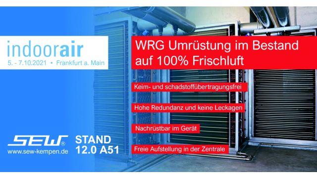 Werbeflyer für die Indoor-Air Messe 2021 - Aussteller SEW GmbH.