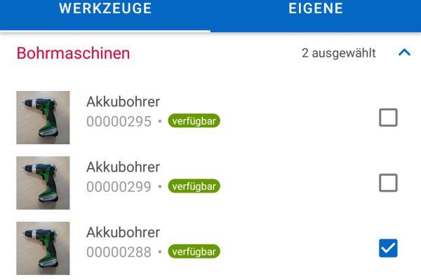 Screenshot: Auswahl von Werkzeugen anhand von Filtern oder Kategorien in der pds Werkzeug App.