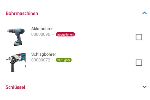 Screenshot: Komfortable Suche und Entnahme von Werkzeugen.