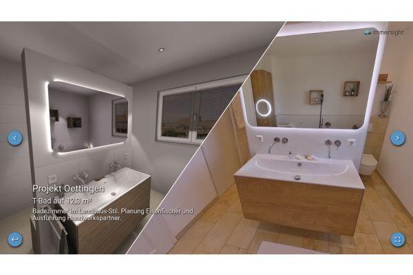 Ein echt-realisiertes Projekt im Showroom. Rechts die 3D-Planung aus dem Hause Eisen-Fischer und links die Ausführung des Handwerkspartners.