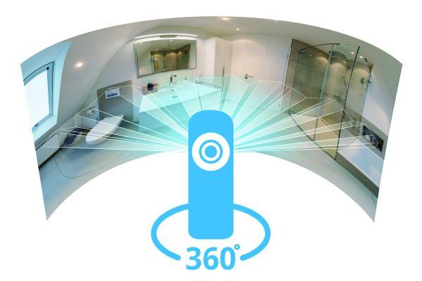 Mit einer 360°-Kamera können ganze Räume auf einmal fotografiert werden. Damit kann man seine Ausstellung, aber natürlich auch Referenzen, selbst in 3D aufnehmen und in der virtuellen Ausstellung präsentieren.