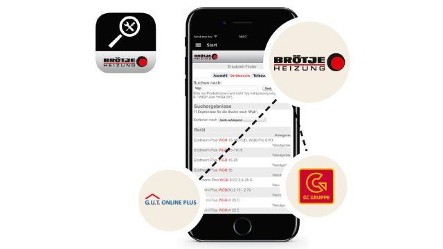 Hier zu sehen ist die App von Brötje zur Findung des richtigen Bauteils.