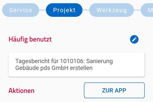 Eine App für alle Vorgänge: Mit pds Mitarbeiter greift der Monteur auf sämtliche aktivierten pds App Dienste zu.